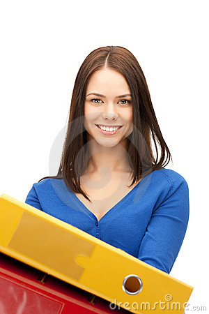 Woman with folders