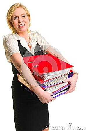 Woman and folders