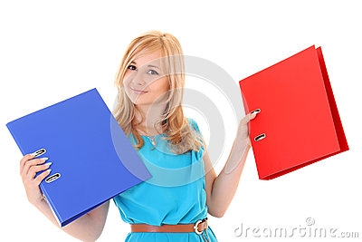 Woman with folders isolated over white background
