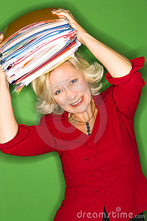 Woman with folders over head