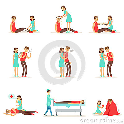 Free Woman Following Firs Aid Primary And Secondary Emergency Treatment Procedures Collection Of Infographic Illustrations Royalty Free Stock Photos - 84984738
