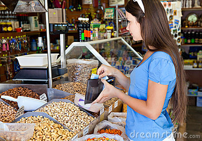 Woman in food-shop