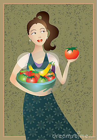 Woman with Foods of Mediterranean Healthy Diet
