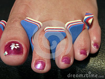 Woman Foot after a French Pedicure, USA
