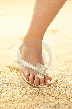 Free Woman Foot On Sand Stock Image - 16807201