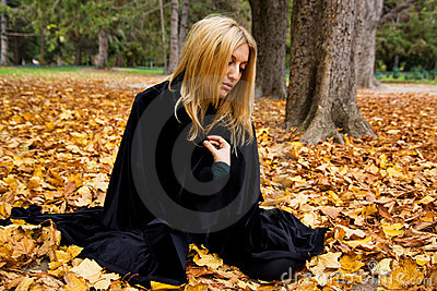 Woman in forest.