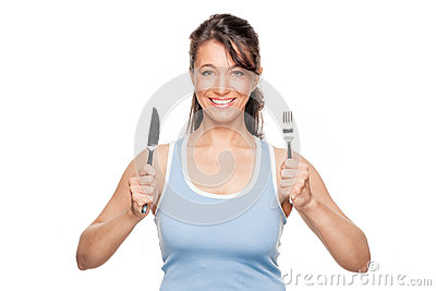Woman with fork and knife