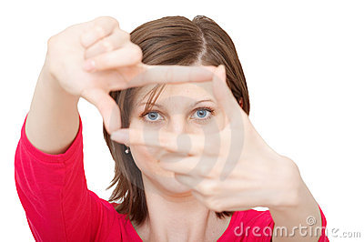 Woman with framing hands