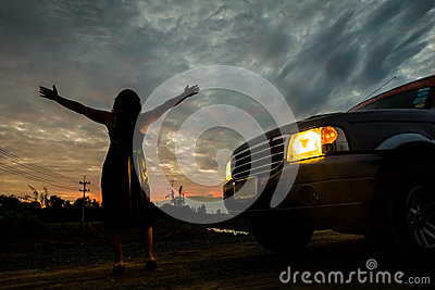 Woman freedom sunset