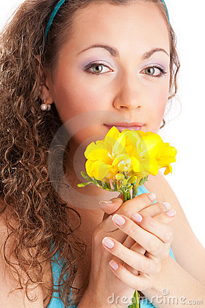 Woman with freesia