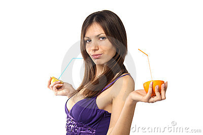 Woman with fresh citrus juice
