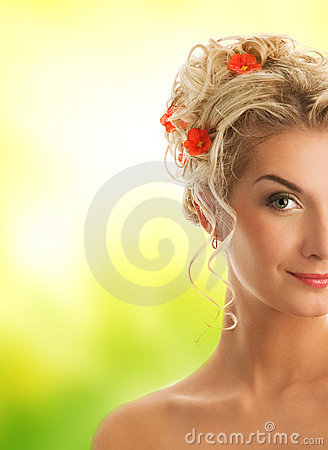 Woman with fresh spring flowers