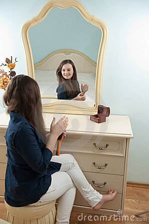 Woman In Front Of Mirror Royalty Free Stock Image Image
