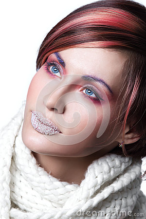 Woman  with frost on lips