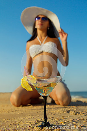 Woman with fruit cocktail