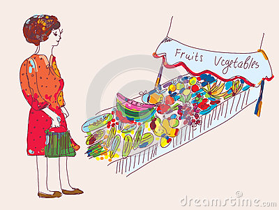 Woman at the fruit and vegetables market
