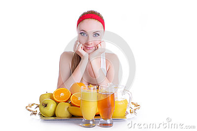 Woman with fruits and juice