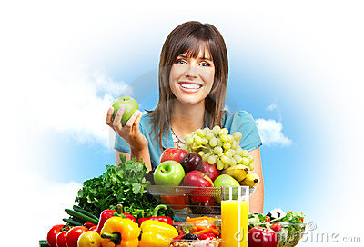 Woman,  fruits, nature