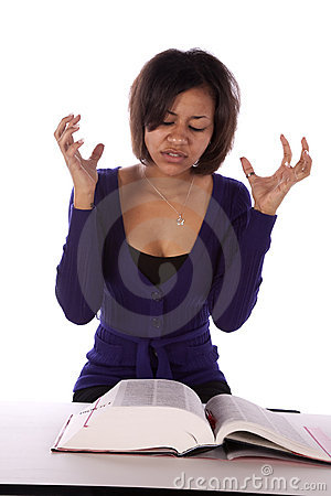 Woman frustrated with book