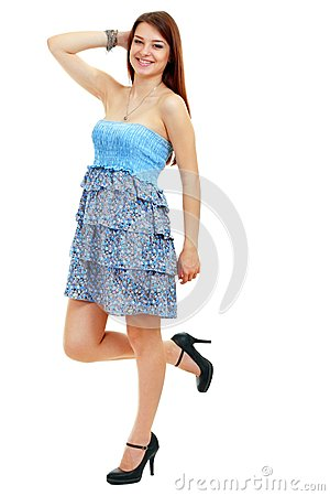 Woman in funky blue dress