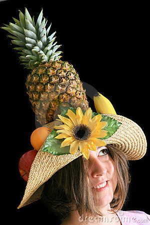 Woman with funny fruit hat