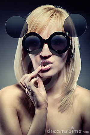 Woman with funny glasses