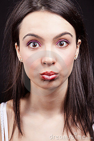 Woman with funny and surprise expression on face