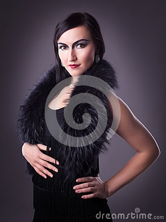 Woman In Fur Boa Portrait - Retro Style Make-up Royalty Free Stock Image - Image: 18680476