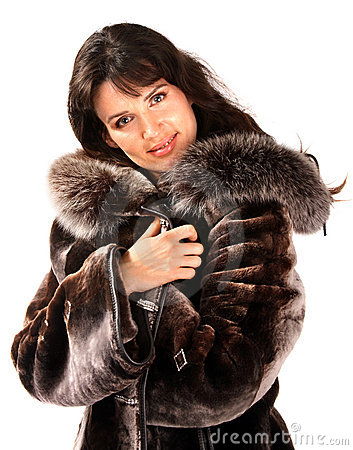 Woman in fur coat.