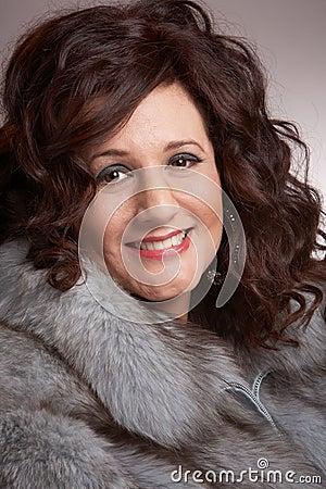 Woman with fur coat closeup