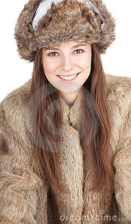 Woman in a fur coat and hat