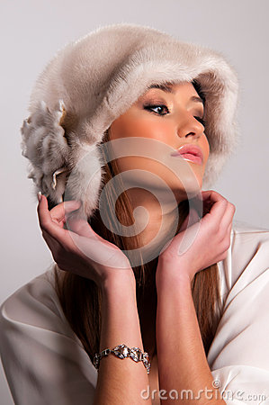 Woman in a fur hat