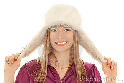 Woman in fur hat smiling