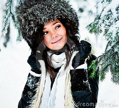 Woman with fur hat in Winter