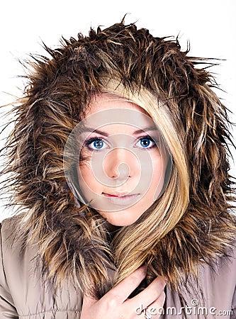Woman with fur hood