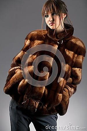 Woman in fur jacket