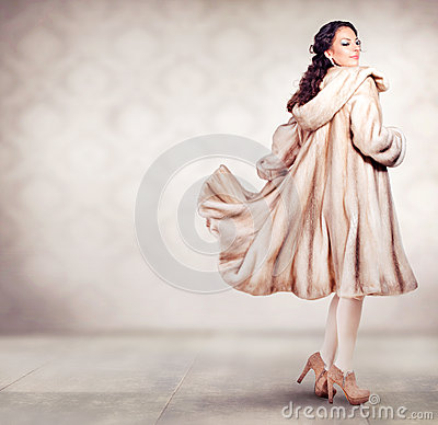 Woman in Fur Mink Coat