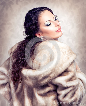 Woman in Fur Mink Coat