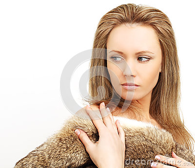 Woman in fur, pent-up passion