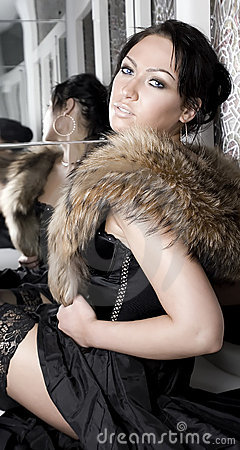 Woman with fur stole