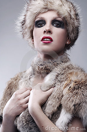 woman in fur, studio shot