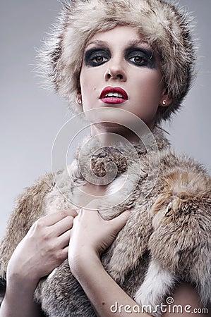 woman in fur, studio shot