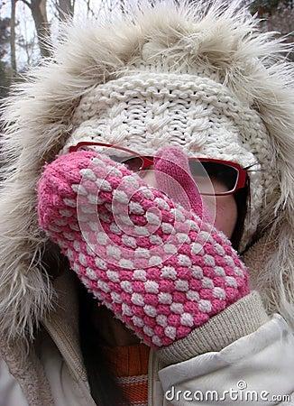 Woman in fur wintry hat