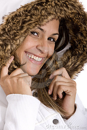 Woman with furry coat