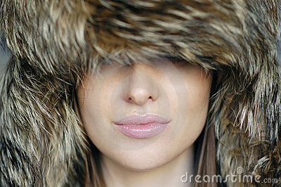 Woman in the furry hat
