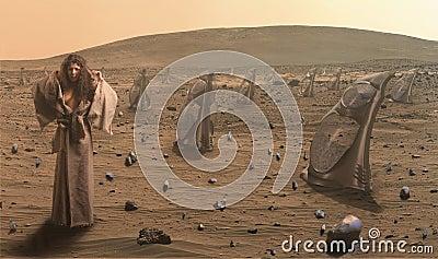 Woman in futuristic desert