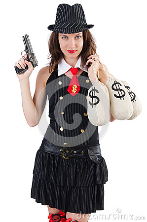 Woman gangster with gun