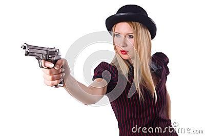 Woman gangster with handgun