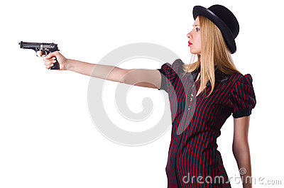 Woman gangster with handgun