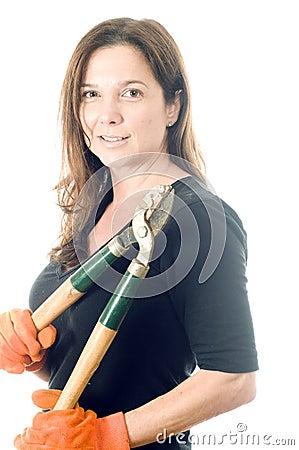 Woman gardener lopper tree cutting tool